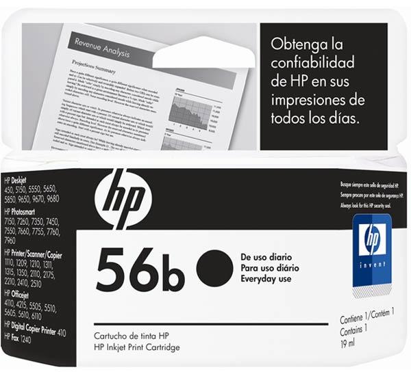 Cartucho de Tinta HP - 56B Preto
