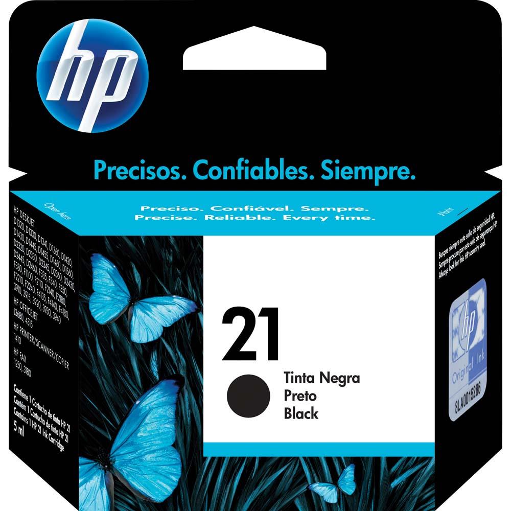 Cartucho de Tinta HP - 21 Preto