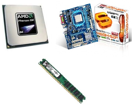 KIT PHENOM 9850 2.5 + GIGABYTE M68M + 2GB RAM DDR2 KINGSTON