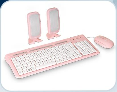 Kit Teclado + Mouse + Cx Som - Pink - K-MEX
