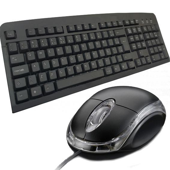 Lote 5 Kit Teclado e Mouse USB Standart
