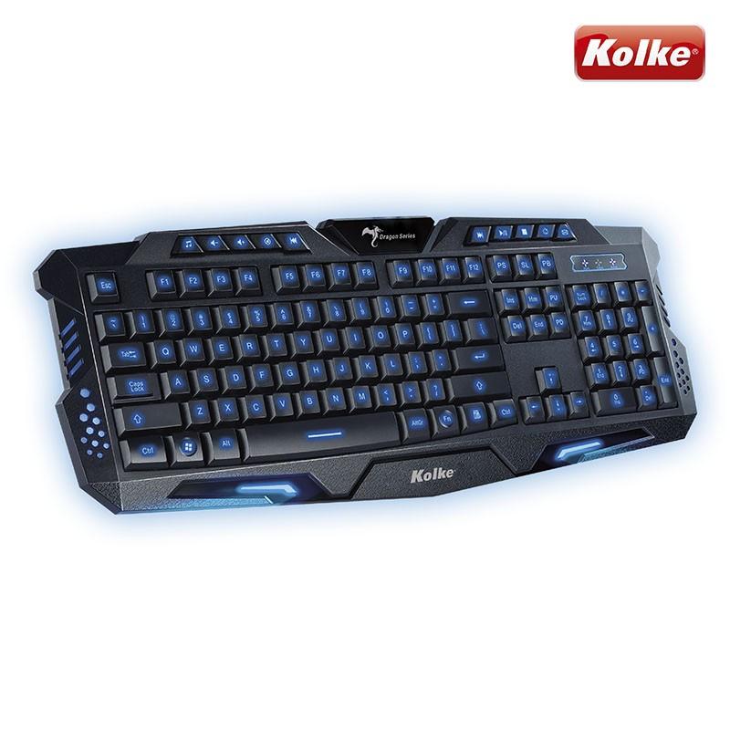 Teclado Gaming Force USB Luminoso Azul Vermelho ou Roxo Dragon Series KTG-502P - Kolke