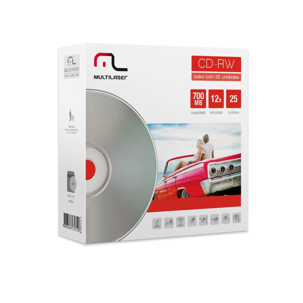 Mídia CD-RW 12X - 25 Unidade Envelope Impresso Em Caixa Multilaser - CD053