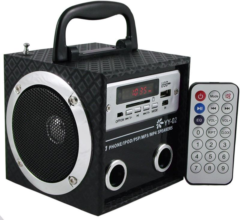 Caixa De Som Portátil YY-02 MP3 USB Pen Drive Rádio FM
