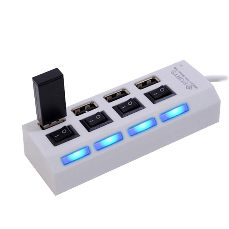Hub USB 2.0 4 Portas C/ Chave Led Alta Velocidade - Branco