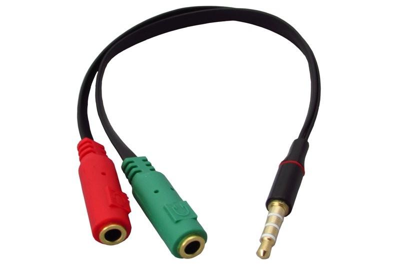 Cabo Unificador P3 Fone e Microfone P2 Macho X 2 P2 Fêmea P/ notebook (Juntar fone e microfone)