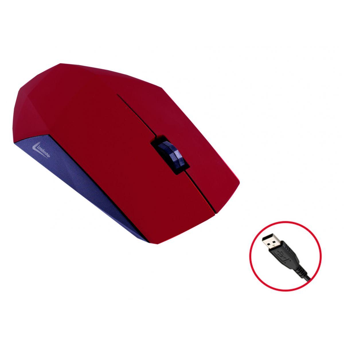 Mouse Óptico Leadership Diamond 1232 USB 1200Dpi Vermelho