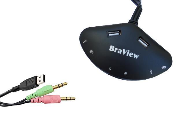Hub USB e  Áudio  UPH-140 Braview Preto