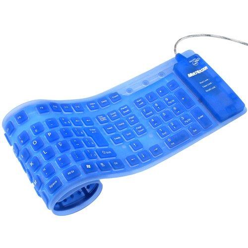 Teclado Flexível Luminoso Azul USB - Multilaser TC00008ML