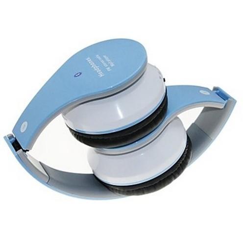 Fone de Ouvido Headphone S/ Fio Bluetooth Micro SD FM USB Branco e Azul BM-201B