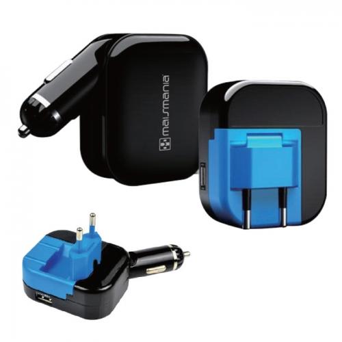 Fonte Carregador Universal De Energia Dual USB Tomada e Veicular 5V 2.1a - mm762