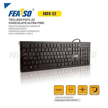Teclado Ultra Fino Feasso Chocolate USB  FATC-22