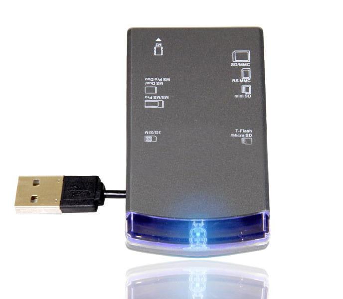 Leitor de Cartões de Memória USB 2.0 Blue Shine + SIM Card 9162