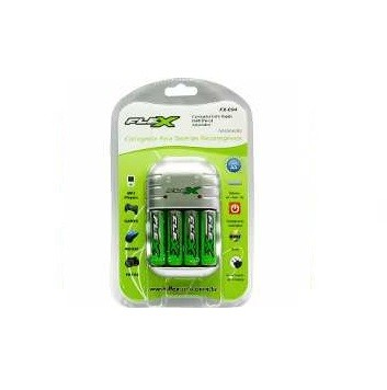 Carregador de Pilhas e Bateria FX-C03/4P AA-AAA-9v (Acompanha 4 Pilhas AA)