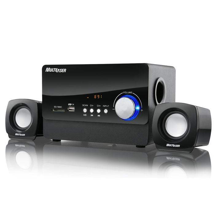 CAIXA DE SOM 2.1 MULTILASER SP101 ENTRADA USB/SD/RADIO FM 20W RMS