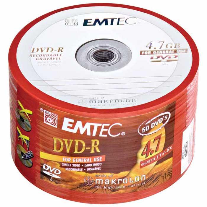 Mídia DVD EMTEC Sleeve - 8X - Pino c/ 50.