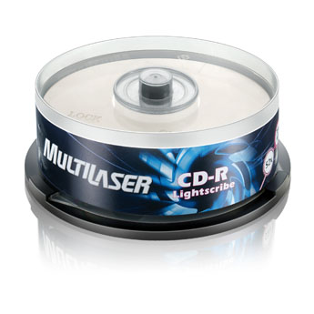 CD-R LIGHTSCRIBE MULTILASER 52X 700MB C/ 25 UNIDADES