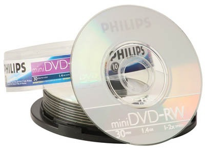 Mini DVD-RW PHILIPS 1.4GB 2x Tubo com 10 - Com Logo