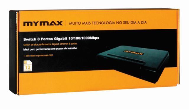 SWITCH 08 PORTAS 10/100/1000 MYMAX PRETO MOD: GSWI-RTL8P/BK
