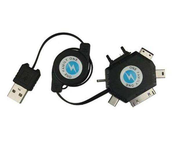 Cabo USB Retrátil 6 em 1 Mini Micro USB iphone Samsung HTC Nokia