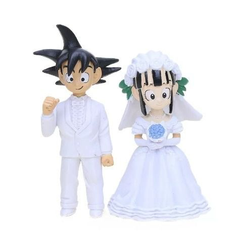 Action Figure Dragon Ball Noivos Enfeites de Bolo Goku e Chichi Casamento