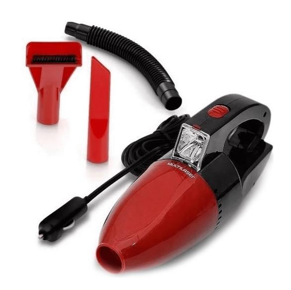 Aspirador de Pó Automotivo 1500pa 12v 60w Funcao Sólido e Liquido Com Mangueira Vermelho Multilaser - AU607