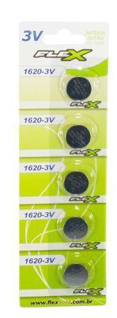 Cartela Com 5 Bateria Botão Flex FX-CR1620-3V