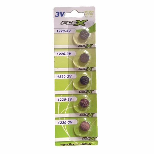 Bateria Botão FX-CR1220 Pilha 1220 Cartela 5 Unidades