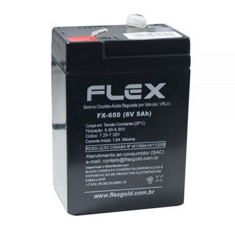 Bateria Selada Flex Chumbo Ácida regulada por válvula VRLA 6.V 5Ah Preto - FX-650