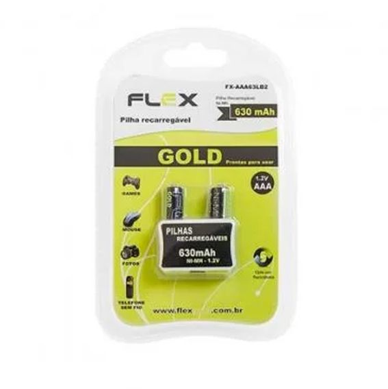 Blister 2 Pilhas AAA recarregaveis Flex 630mah 1.2v - FX-AAA63LB2