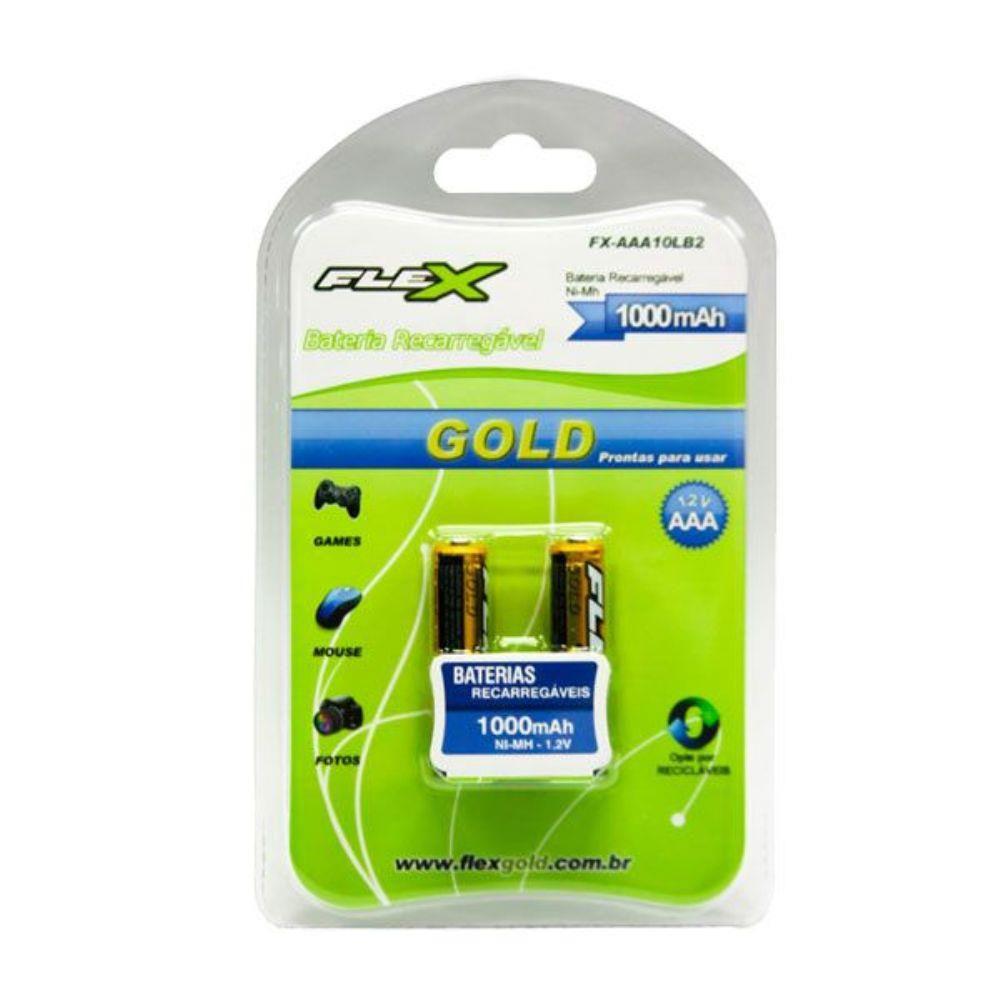 Blister 2 Pilhas Recarregaveis AAA Flex Gold 1000Mah  1.2v - FX-AAA10LB2