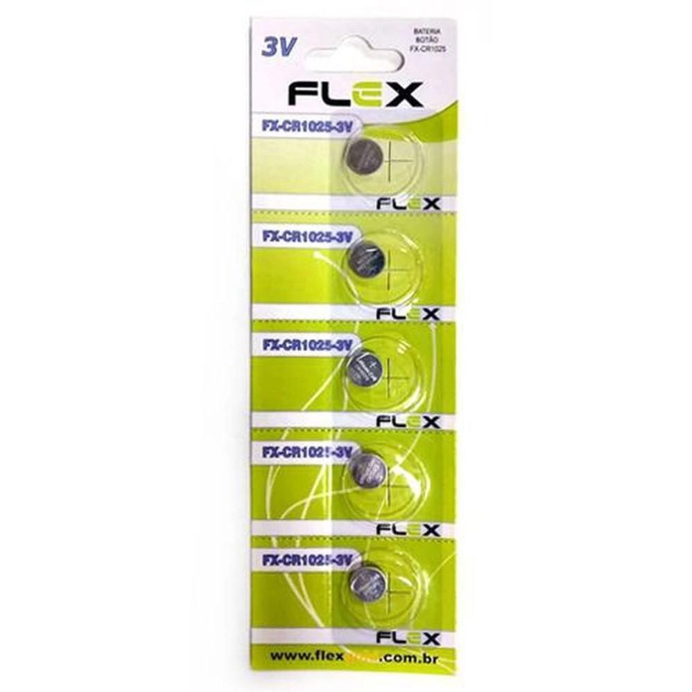 Blister 5 Unid. Bateria FX-CR1025 Lithium 3v Tipo Botão Flex - CR-1025