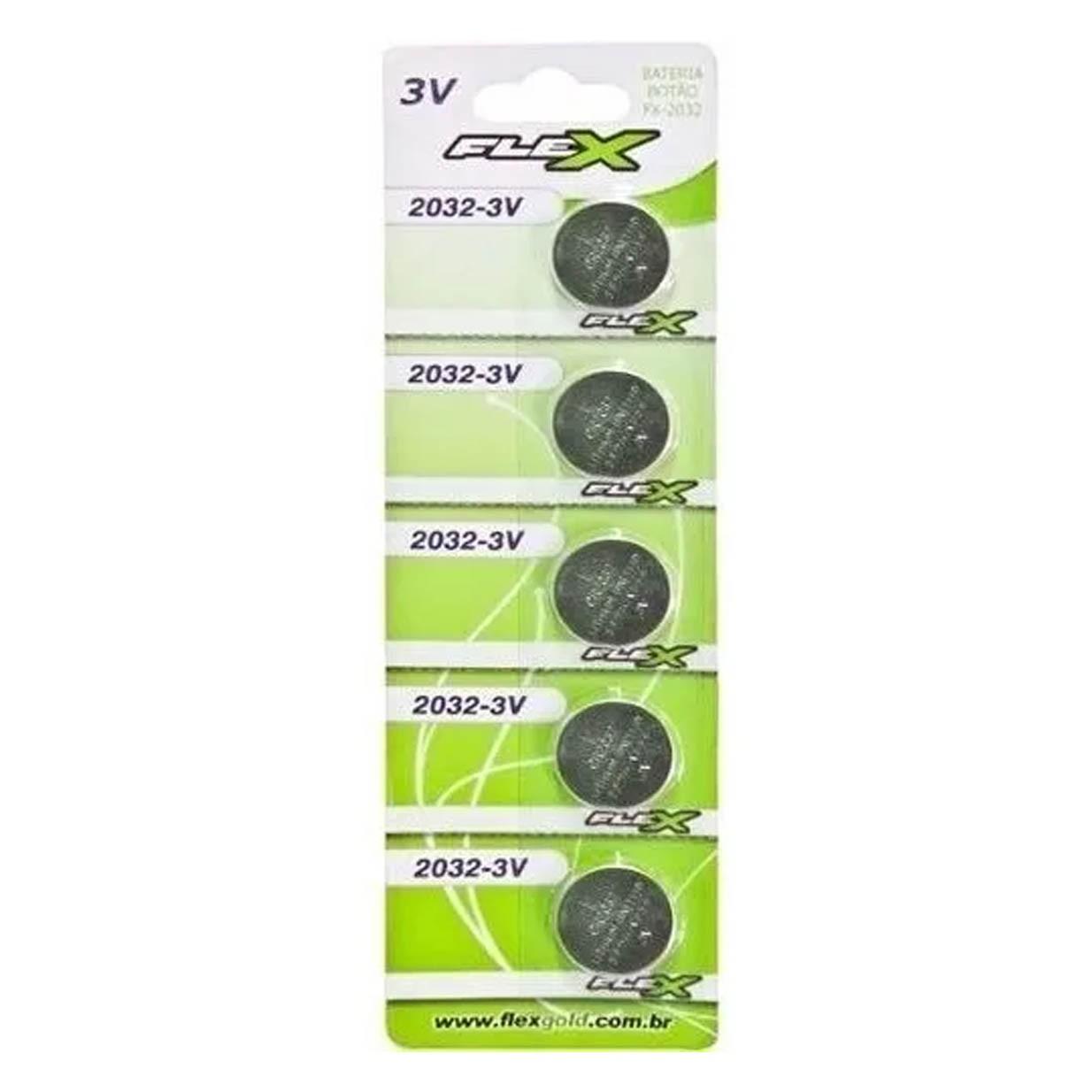 Blister 5 Unid. Bateria FX-CR2032 Lithium 3v Tipo Botão Flex - CR2032