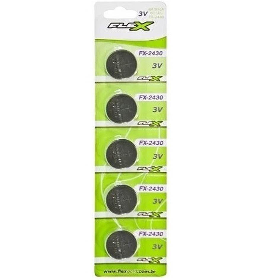 Blister 5 Unid. Bateria FX-CR2430 Lithium 3v Tipo Botão Flex - CD-2430