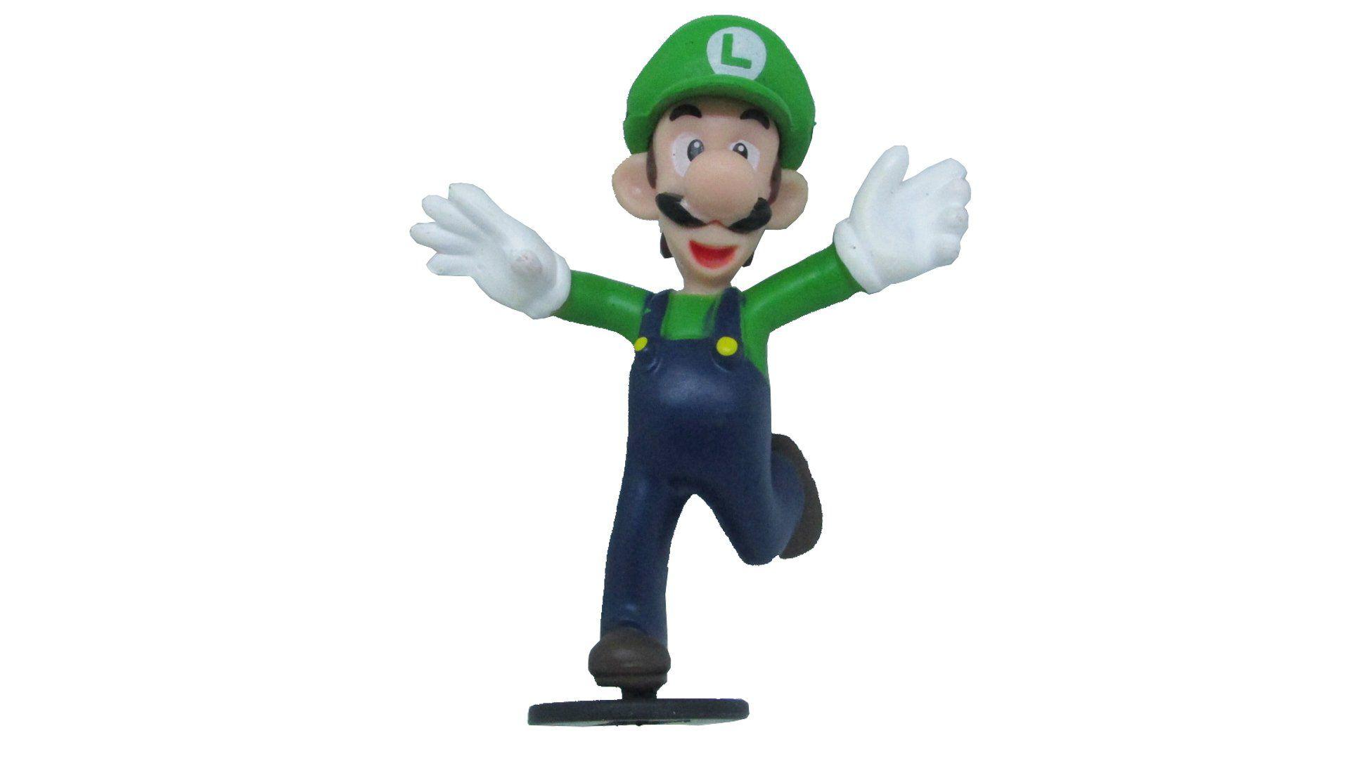 Boneco Colecionável Super Mario - Luigi C/ Base - 7CM