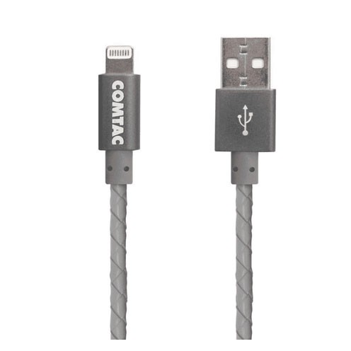 Cabo Lightning Reforçado 1 Metro Comtac USB 2.0 Compatível iPhone iPad  iPod Cinza - 9370