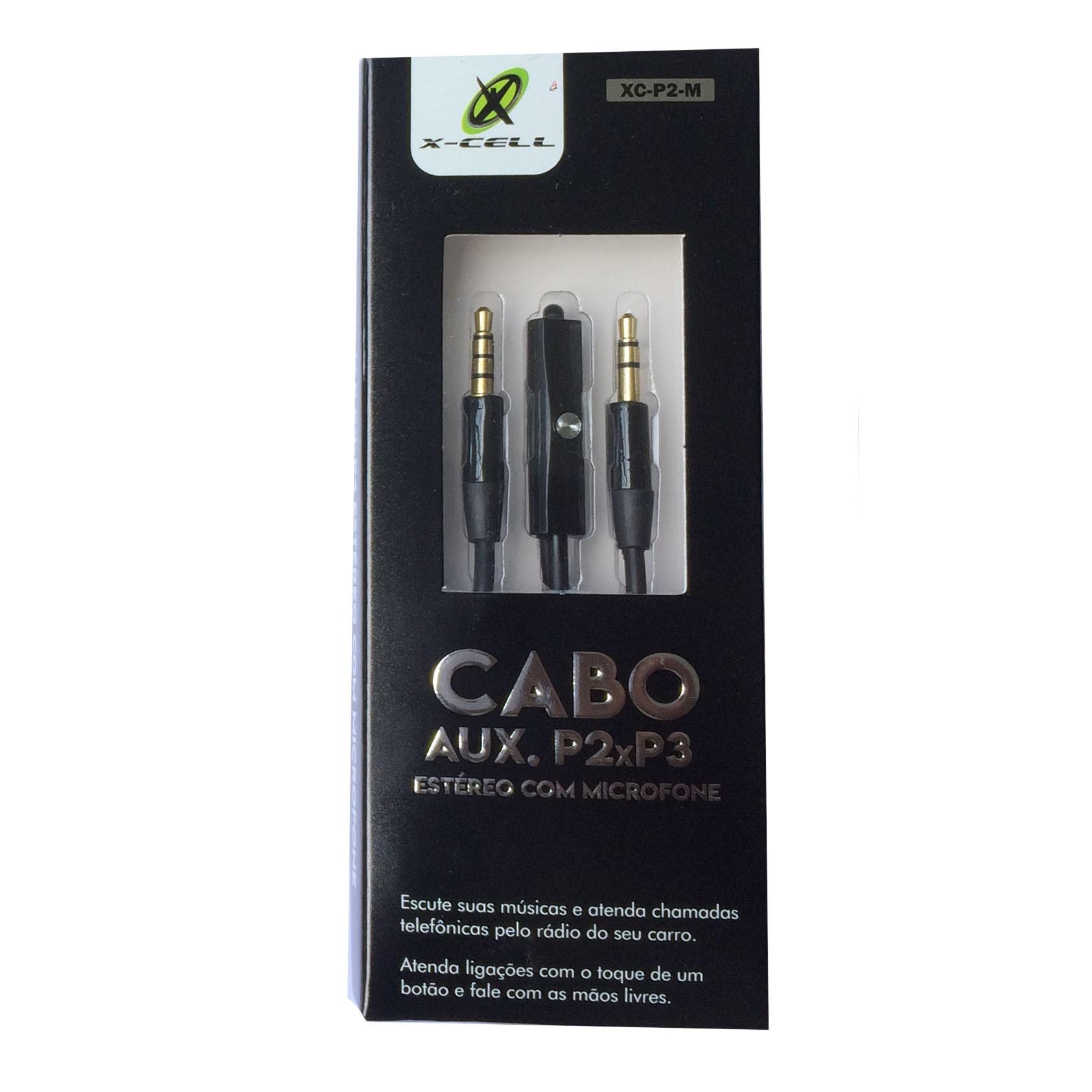 Cabo P2 x P3 C/ Microfone Embutido P/ Headset Xcell Preto - XC-P2-M