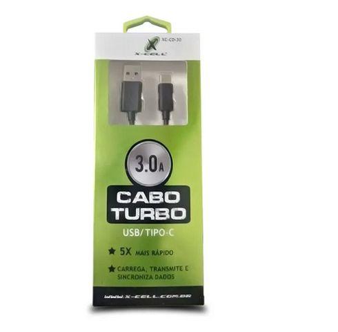 Cabo Tipo C 3.0A  2METROS TURBO X-cell - PRETO - XC-CD-30