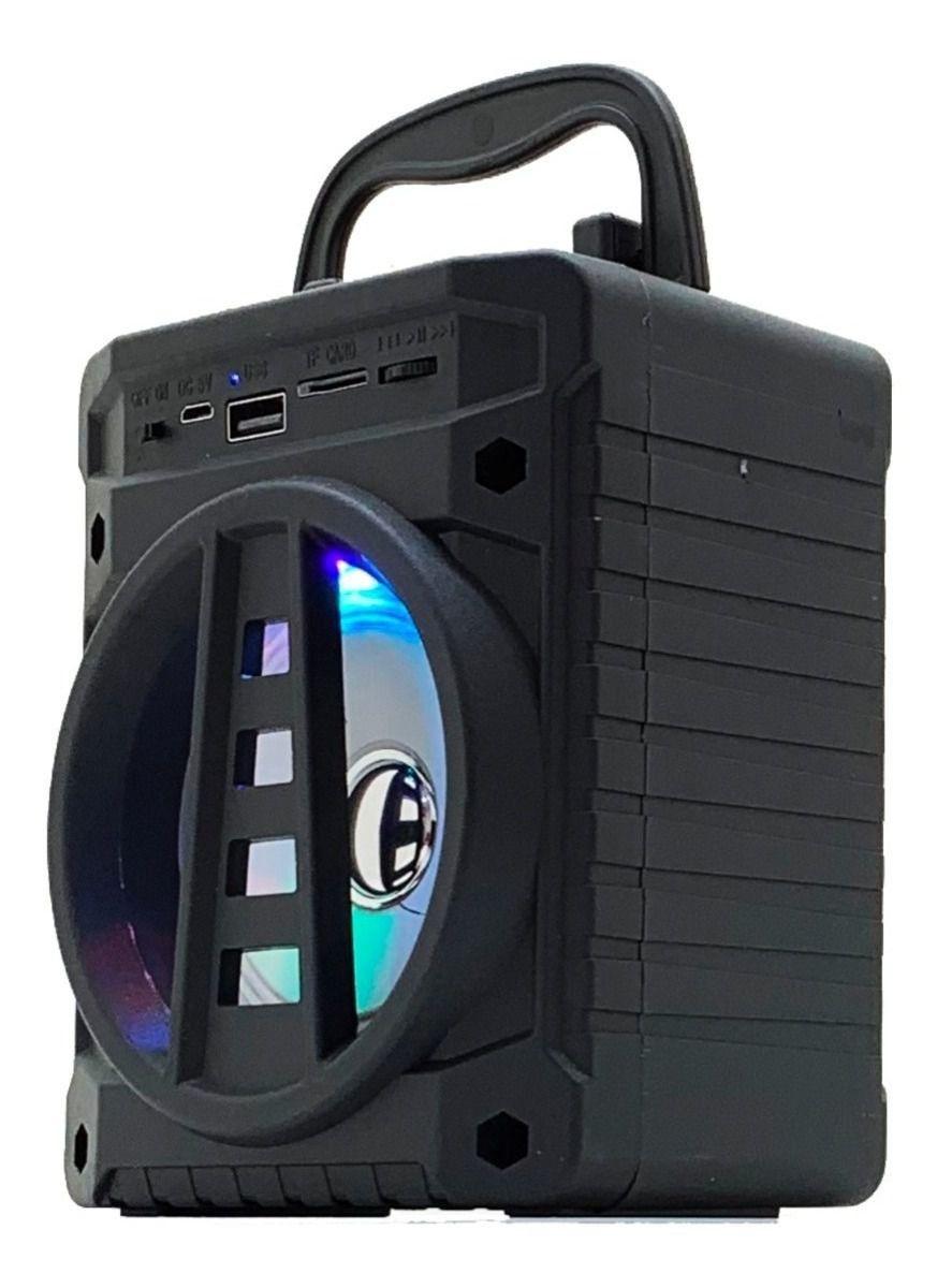 Caixa Caixinha Som Portátil Bluetooth Sd Tf Rádio Fm Usb Mp3 Preto