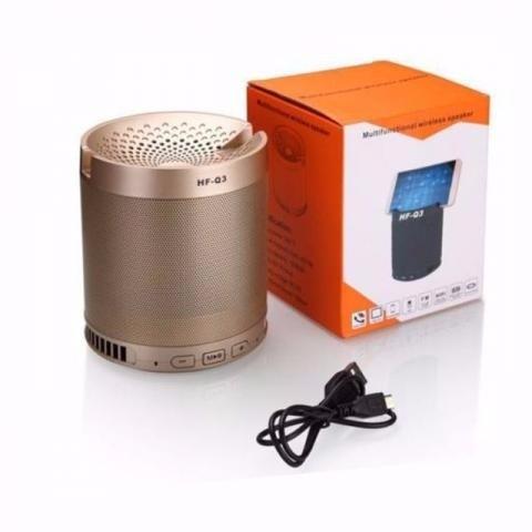 Caixa de Som Bluetooth c/ suporte para celular Dourada Q3