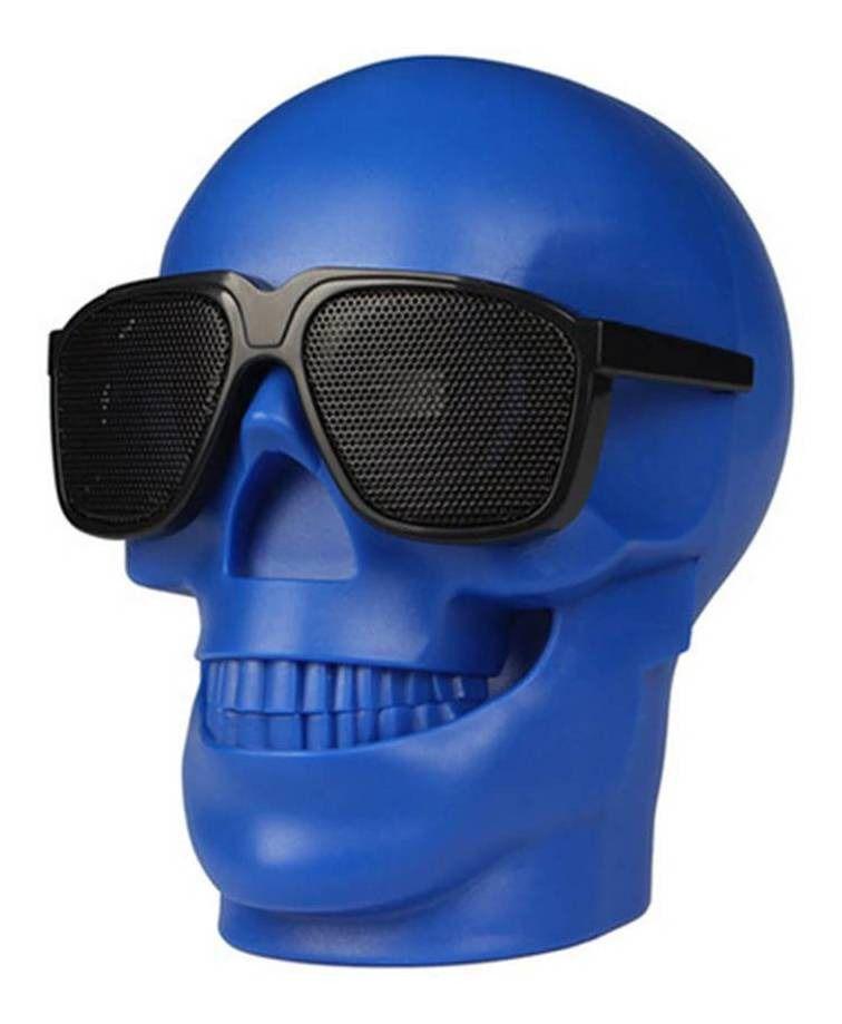 Caixa De Som Bluetooth Caveira Skull Crânio Usb Rádio D-Q6 Azul