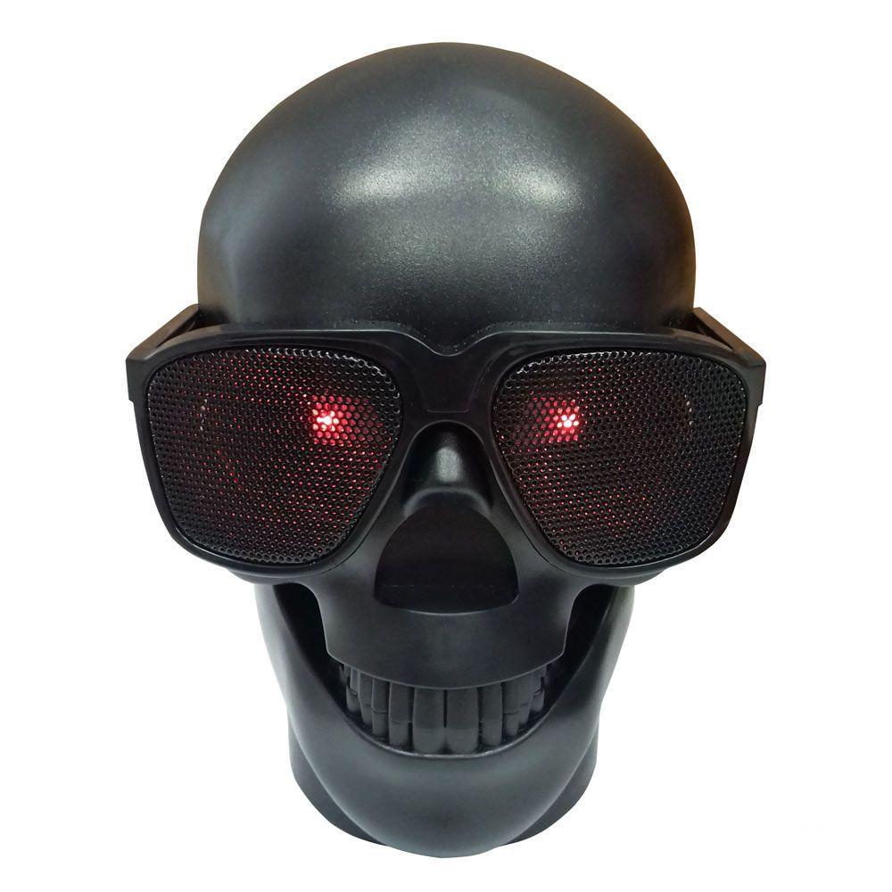 Caixa De Som Bluetooth Caveira Skull Crânio Usb Rádio D-Q6 Preto