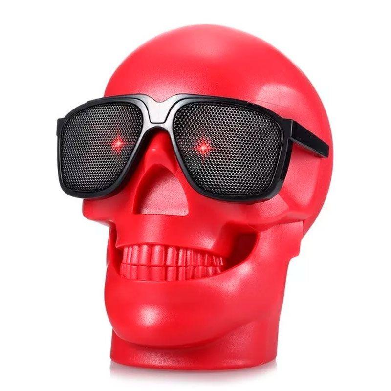 Caixa De Som Bluetooth Caveira Skull Crânio Usb Rádio D-Q6 Vermelho