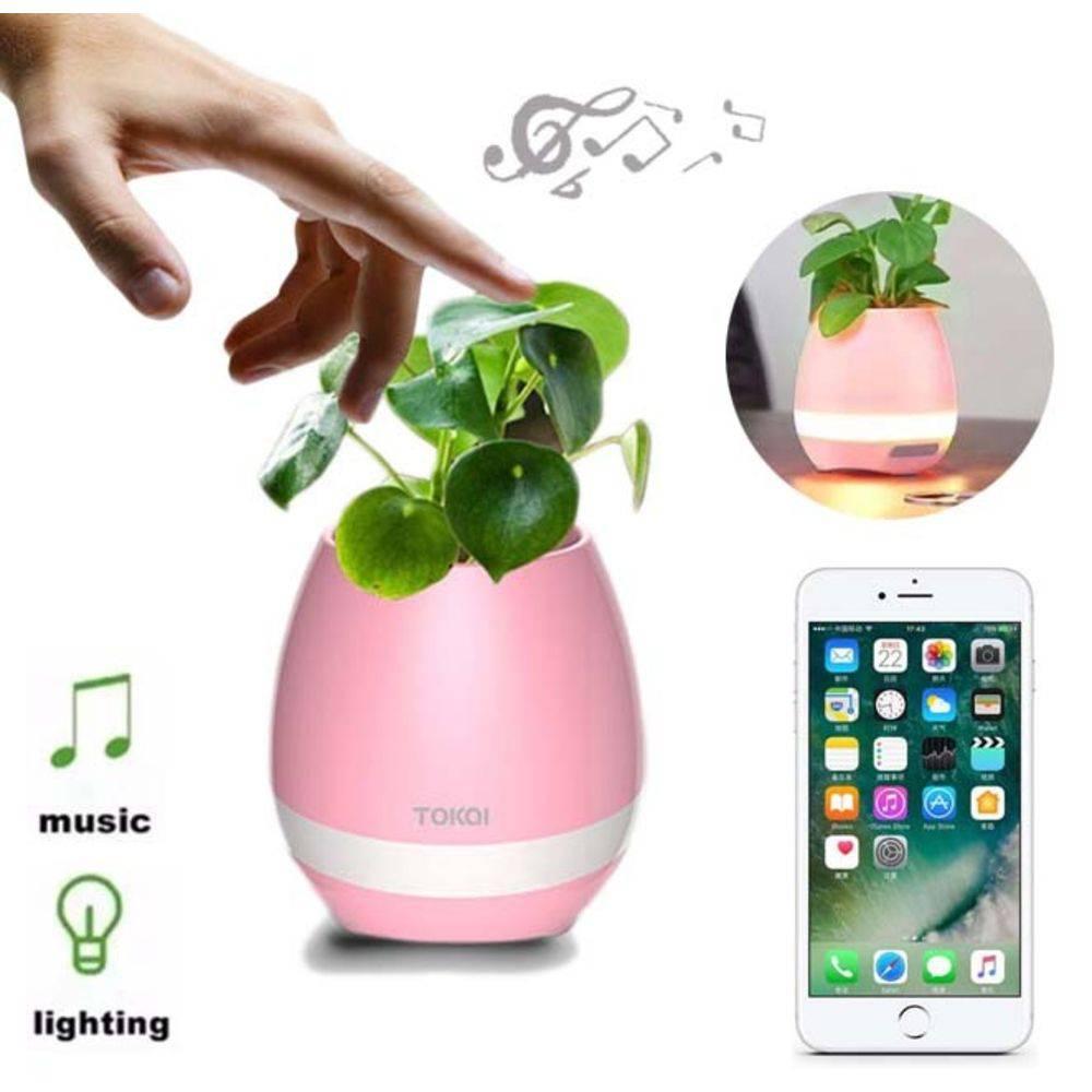 Caixa de som bluetooth formato vaso Inteligente p/ plantas Rosa com LED