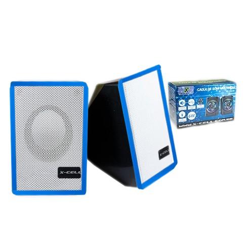 Caixa de Som X-Cell Para PC/Notebook P2 USB C/ Controle Vol. Azul - XC-CM-07