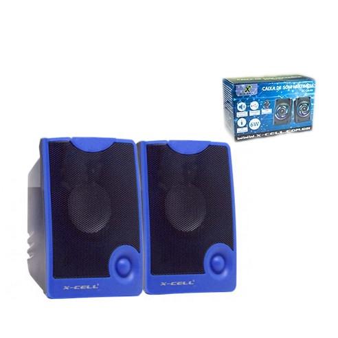 Caixa de Som X-Cell Para PC/Notebook P2 USB C/ Controle Vol. Azul - XC-CM-10