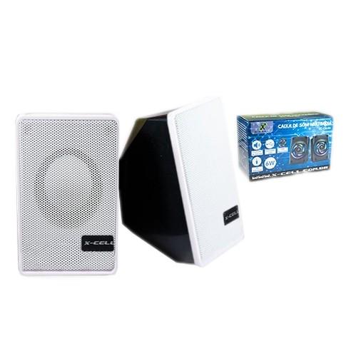 Caixa de Som X-Cell Para PC/Notebook P2 USB C/ Controle Vol. Branco - XC-CM-07