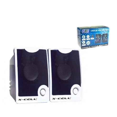 Caixa de Som X-Cell Para PC/Notebook P2 USB C/ Controle Vol. Branco - XC-CM-10