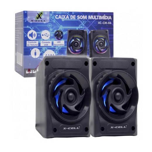 Caixa de Som X-Cell Para PC/Notebook P2 USB C/ Led Decorativo e Controle Vol. Preto - XC-CM-06