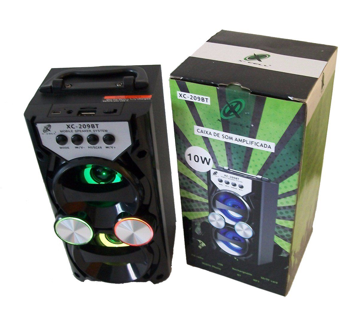 Caixa Som Amplificada Bluetooth USB/MP3/FM XC-209BT